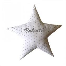 Coussin etoile blanche étoilée de petites étoiles grises personnalisable
