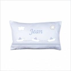 Coussin frise bateaux Petit Jean bleu