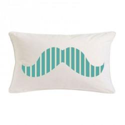 Coussin moustache rayé turquoise rectangle