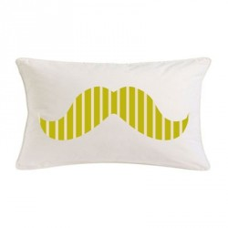 Coussin moustache rayé vert  rectangle