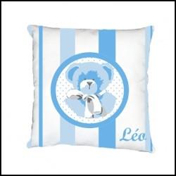 Coussin ours bleu rayé  personnalisable