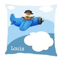 Coussin ours en avion bleu dans les nuages personnalisable