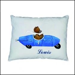 Coussin ours en voiture bleue personnalisable