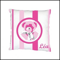 Coussin ours rose raye personnalisable