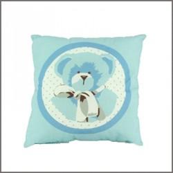 Coussin Ourson bleu carré personnalisable