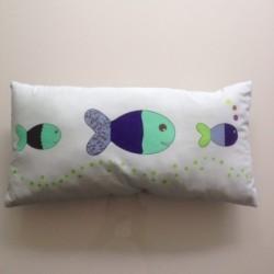 Coussin poissons patchwork bleus