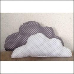 deux Coussins nuage blanc et gris