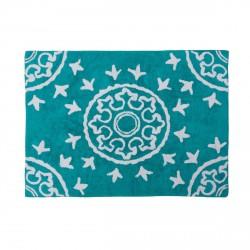 Tapis enfant coton motifs géométriques Duna turquoise