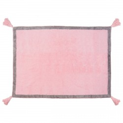 Tapis enfant coton rose uni Duo