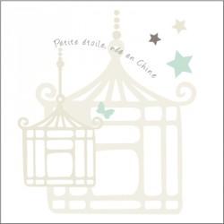 Echantillon Faire part d'adoption étoile de chine bleu