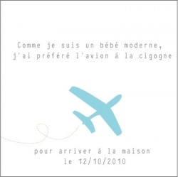 Echantillon Faire part d'adoption avion bleu
