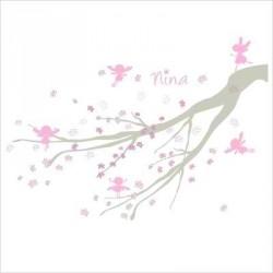 Echantillon Faire part de naissance arbre à fées rose et gris