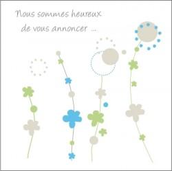 Echantillon Faire part de naissance floral bleu