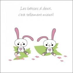 Echantillon Faire part de naissance lapins Filles jumelles