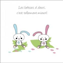 Echantillon Faire part de naissance lapins Garçon Fille