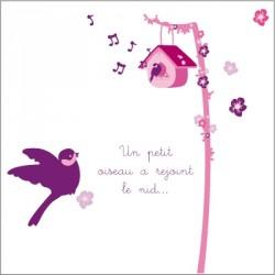 Echantillon Faire part de naissance Nid rose