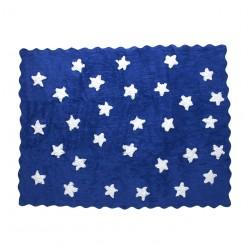 Tapis enfant coton étoiles Eden bleu marine