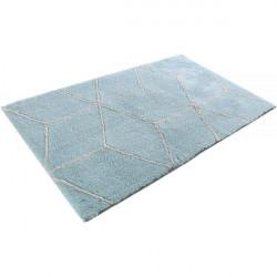 Tapis de bain motifs géométriques Flair bleu