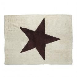 Tapis enfant coton beige étoile Estela marron