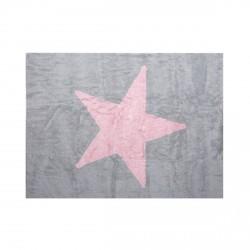 Tapis enfant coton gris étoile Estela rose