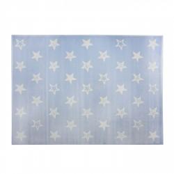 Tapis bleu ciel étoiles blanches