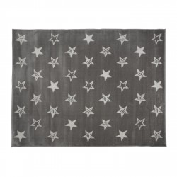 Tapis gris étoiles blanches