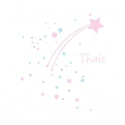 Sticker étoile filante neige rose