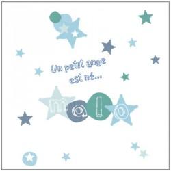 Faire part de naissance étoile bleues Malo