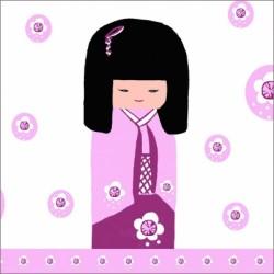 Faire part de naissance  kokeshi rose
