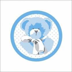 Faire part de naissance  ours bleu fond blanc