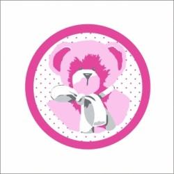 Faire part de naissance  ours rose fond blanc