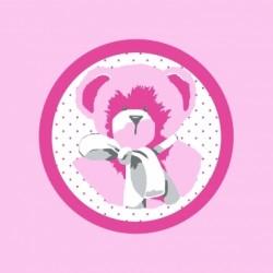Faire part de naissance  ours rose fond rose