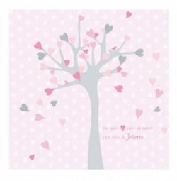 Faire part de naissance arbre à coeurs rose gris