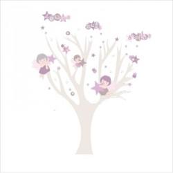 Faire part de naissance arbre douce nuit fille