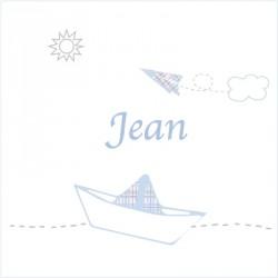 Faire part de naissance bateau Petit Jean blanc