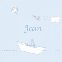 Faire part de naissance bateau Petit Jean bleu