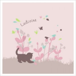 Faire part de naissance chaton rose