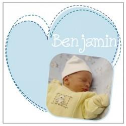 Faire part de naissance coeur Benjamin