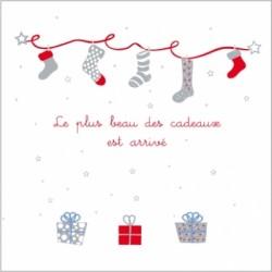 Faire part de naissance Noël rouge gris