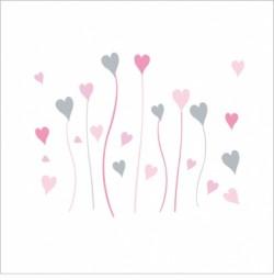Fleurs coeurs roses et grises
