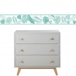 Frise papier peint blanc motif  feuillage tropical menthe