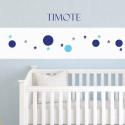 Frise papier Papier peint blanc motif bulles et étoiles bleu