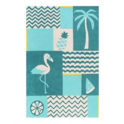 Tapis enfant Fruity Flamingo bleu turquoise