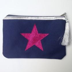 Pochette bleu marine étoile rose personnalisable