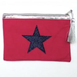 Pochette rose foncé étoile noire personnalisable