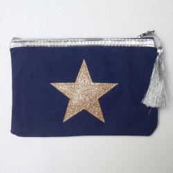 Pochette bleu marine étoile dorée personnalisable
