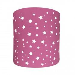 Abat jour ou suspension cylindrique étoiles de la galaxie rose fuchsia