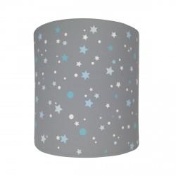 Abat jour ou suspension cylindrique gris étoiles de la galaxie bleues