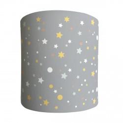 Applique lumineuse grise étoiles de la galaxie jaunes, oranges et menthe