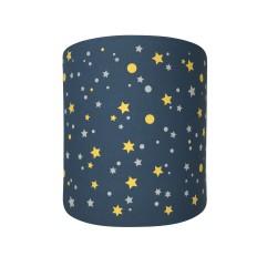 Abat jour ou suspension cylindrique bleu marine étoiles de la galaxie jaunes